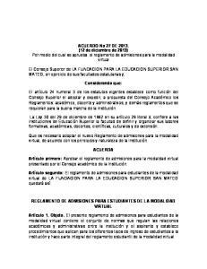 ACUERDO No 27 DE (12 de diciembre de 2013) Por medio del cual se aprueba el reglamento de admisiones para la modalidad virtual