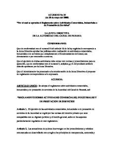 ACUERDO No 35 (de 30 de mayo del 2000) Por el cual se aprueba el Reglamento sobre Actividades Comerciales, Industriales o de Prestación de Servicios