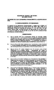 ACUERDO No DE 2014 (03 JUNIO DE 2014) POR MEDIO DEL CUAL SE MODIFICA PARCIALMENTE EL ACUERDO 078 DE 2013