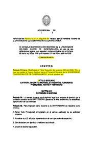 ACUERDO No. DE ( ) Por el cual se modifica el Título Segundo del Estatuto para el Personal Docente de la UNIVERSIDAD COLEGIO MAYOR DE CUNDINAMARCA