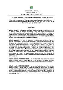 ACUERDO Nro. 012 DE JULIO DE Por el cual se adopta el plan de desarrollo Primero La Virginia