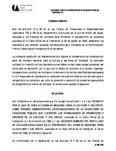 ACUERDO PARA EL OTORGAMIENTO DE DONATIVOS DE CONACULTA CONSIDERANDO