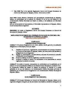 ACUERDO: PRIMERO. Se expide el Reglamento Interno del Consejo Ciudadano de Control del Municipio de Zapopan, Jalisco