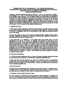 ACUERDO RELATIVO A LA ASIGNACION Y UTILIZACION DE CANALES DE RADIODIFUSION PARA TELEVISION EN EL RANGO DE FRECUENCIAS DE