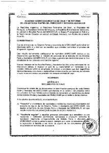 ACUERDO SOBRE DOCUMENl'OS DE VIAJE Y DE RETORNO DE LOS ESTADOS PARTES DEL MERCOSUR y ESTADOS ASOCIADOS