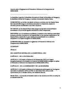 Acuerdo sobre el Reglamento del Protocolo de Defensa de la Competencia del MERCOSUR