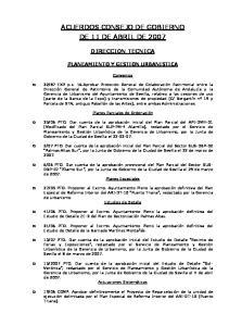 ACUERDOS CONSEJO DE GOBIERNO DE 11 DE ABRIL DE 2007