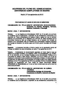 ACUERDOS DEL PLENO DEL CONSEJO SOCIAL UNIVERSIDAD COMPLUTENSE DE MADRID