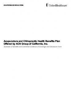 Acupuncture and Chiropractic Health Benefits Plan Offered by ACN Group of California, Inc