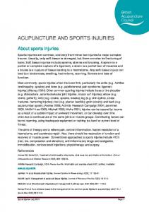 ACUPUNCTURE AND SPORTS INJURIES