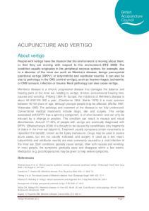 ACUPUNCTURE AND VERTIGO