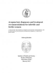 Acupuncture diagnoses and treatment recommendations for infertile and fertile women