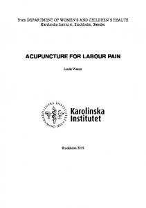 ACUPUNCTURE FOR LABOUR PAIN
