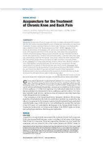Acupuncture for the Treatment of Chronic Knee and Back Pain