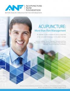 Acupuncture: More than Pain Management