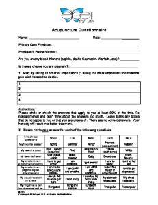Acupuncture Questionnaire