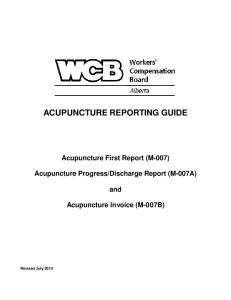 ACUPUNCTURE REPORTING GUIDE
