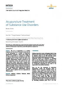 Acupuncture Treatment of Substance Use Disorders