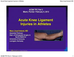 Acute Knee Ligament Injuries in Athletes. Acute Knee Ligament Injuries in Athletes