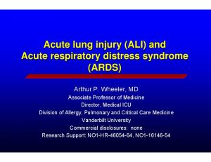 Acute lung injury (ALI) and Acute respiratory distress syndrome (ARDS)