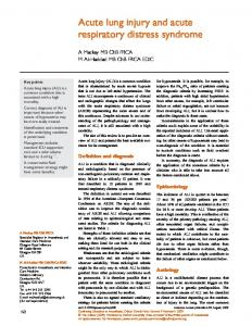Acute lung injury and acute respiratory distress syndrome