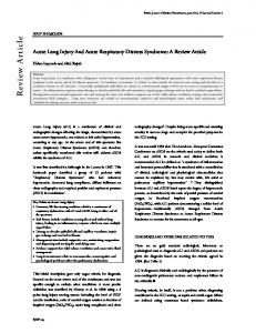 Acute Lung Injury And Acute Respiratory Distress Syndrome: A Review Article