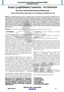 Acute Lymphoblastic Leukemia - An Overview