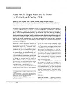 Acute Pain in Herpes Zoster and Its Impact on Health-Related Quality of Life