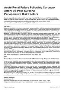 Acute Renal Failure Following Coronary Artery By-Pass Surgery: Perioperative Risk Factors