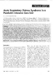 Acute Respiratory Distress Syndrome in a Paediatric Intensive Care Unit