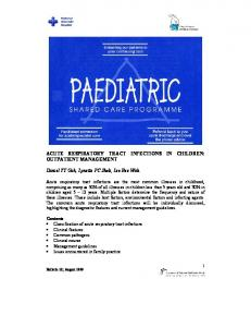 ACUTE RESPIRATORY TRACT INFECTIONS IN CHILDREN: OUTPATIENT MANAGEMENT
