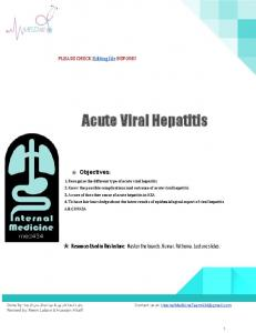 Acute Viral Hepatitis