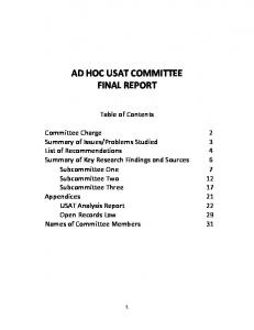 AD HOC USAT COMMITTEE FINAL REPORT