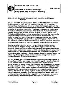 AD. Student Wellness through Nutrition and Physical Activity ADMINISTRATIVE DIRECTIVE