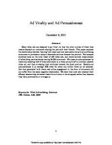 Ad Virality and Ad Persuasiveness