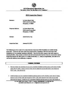 ADA Inspection Report