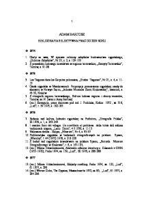 ADAM BARTOSZ BIBLIOGRAFIA SELEKTYWNA PRAC DO 2009 ROKU