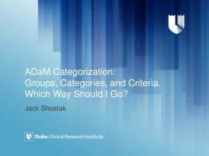 ADaM Categorization: Groups, Categories, and Criteria. Which Way Should I Go? Jack Shostak