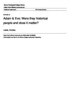 Adam & Eve: Were they historical people and does it matter?
