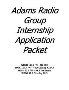 Adams Radio Group Internship Application Packet