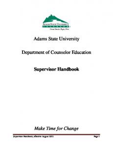 Adams State University. Department of Counselor Education. Supervisor Handbook