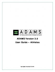 ADAMS Version 3.0 User Guide Athletes