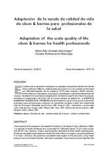 Adaptación de la escala de calidad de vida de olson & barnes para profesionales de la salud