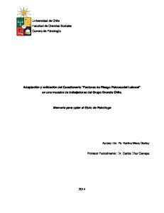 Adaptación y validación del Cuestionario Factores de Riesgo Psicosocial Laboral en una muestra de trabajadores del Grupo Enersis Chile