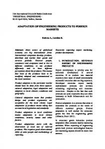 ADAPTATION OF ENGINEERING PRODUCTS TO FOREIGN MARKETS