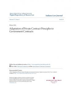 Adaptation of Private Contract Principles to Government Contracts