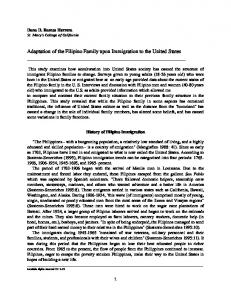 Adaptation of the Filipino Family upon Immigration to the United States
