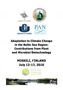 Adaptation to Climate Change in the Baltic Sea Region: Contributions from Plant and Microbial Biotechnology
