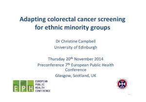 Adapting colorectal cancer screening for ethnic minority groups