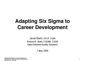 Adapting Six Sigma to Career Development